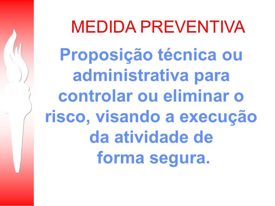 MEDIDA PREVENTIVA Proposição técnica ou administrativa para controlar ou eliminar o risco, visando a execução da atividade de forma segura.