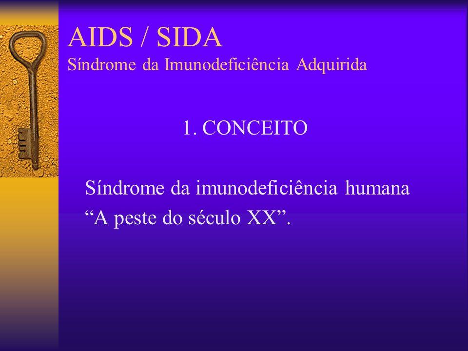 AIDS / SIDA Síndrome da Imunodeficiência Adquirida 1. Conceito 2. Histórico 3. Etiologia 4. Epidemiologia Transmissão 5. Patogênese – Patologia 6. For