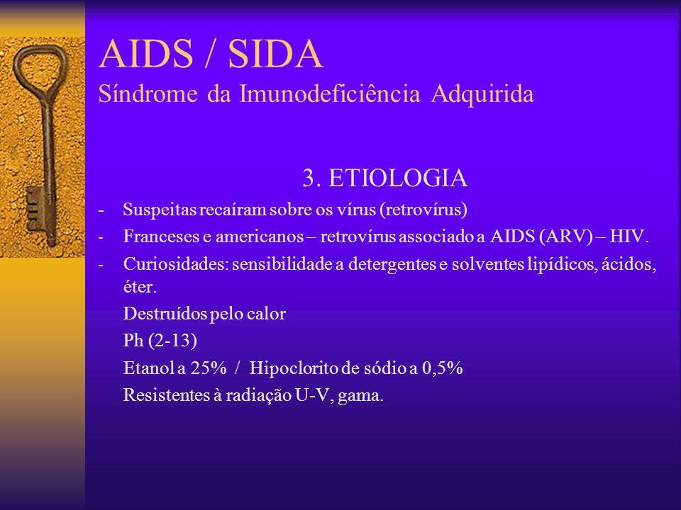 AIDS / SIDA Síndrome da Imunodeficiência Adquirida 2. HISTÓRICO 1979-1980 Dr. Joel Weismann & Dr. Michael Gottlieb 1982 (só homossexuais masculinos?)
