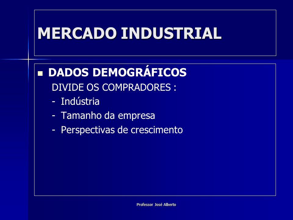 Professor José Alberto MERCADO INDUSTRIAL DADOS DEMOGRÁFICOS DIVIDE OS COMPRADORES : - -Indústria - -Tamanho da empresa - -Perspectivas de crescimento