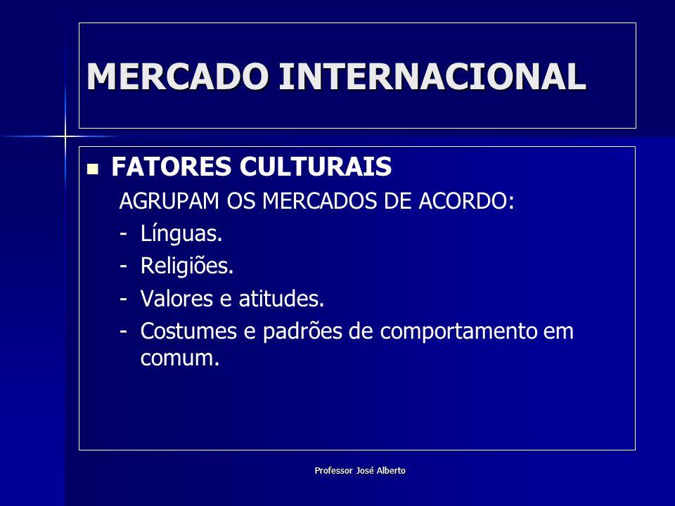 Professor José Alberto MERCADO INTERNACIONAL FATORES CULTURAIS AGRUPAM OS MERCADOS DE ACORDO: - -Línguas. - -Religiões. - -Valores e atitudes. - -Cost