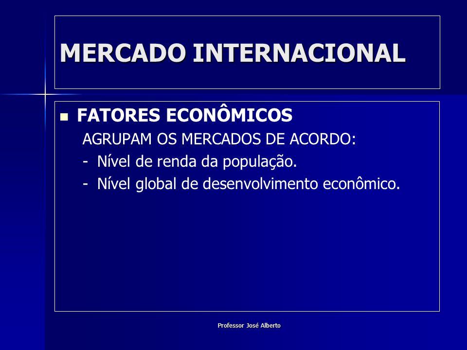 Professor José Alberto FATORES ECONÔMICOS AGRUPAM OS MERCADOS DE ACORDO: - -Nível de renda da população. - -Nível global de desenvolvimento econômico.