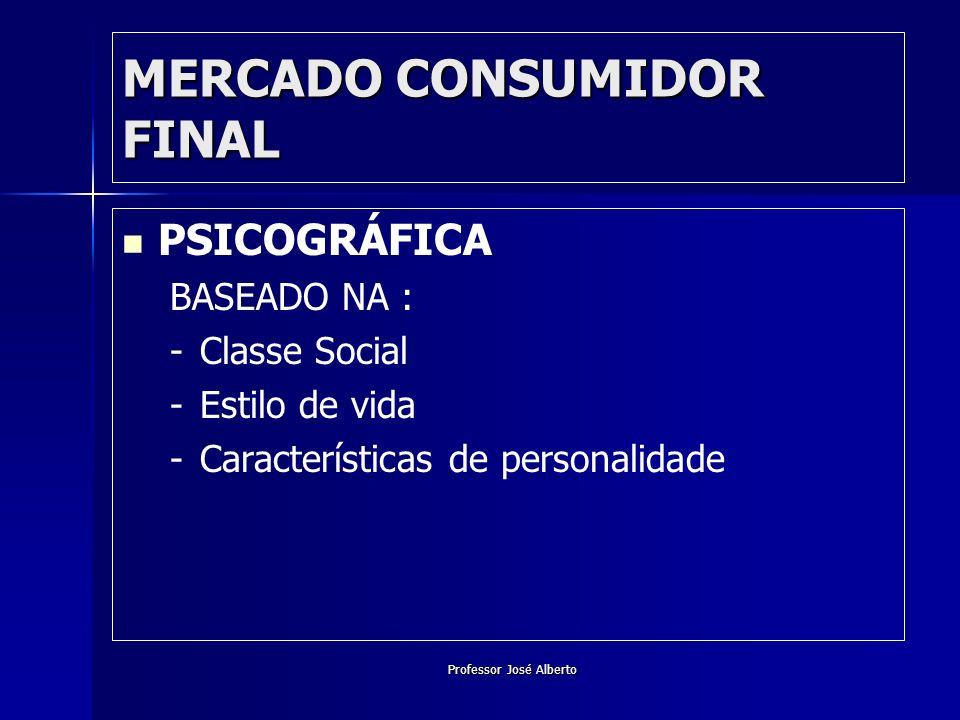 Professor José Alberto MERCADO CONSUMIDOR FINAL PSICOGRÁFICA BASEADO NA : - -Classe Social - -Estilo de vida - -Características de personalidade