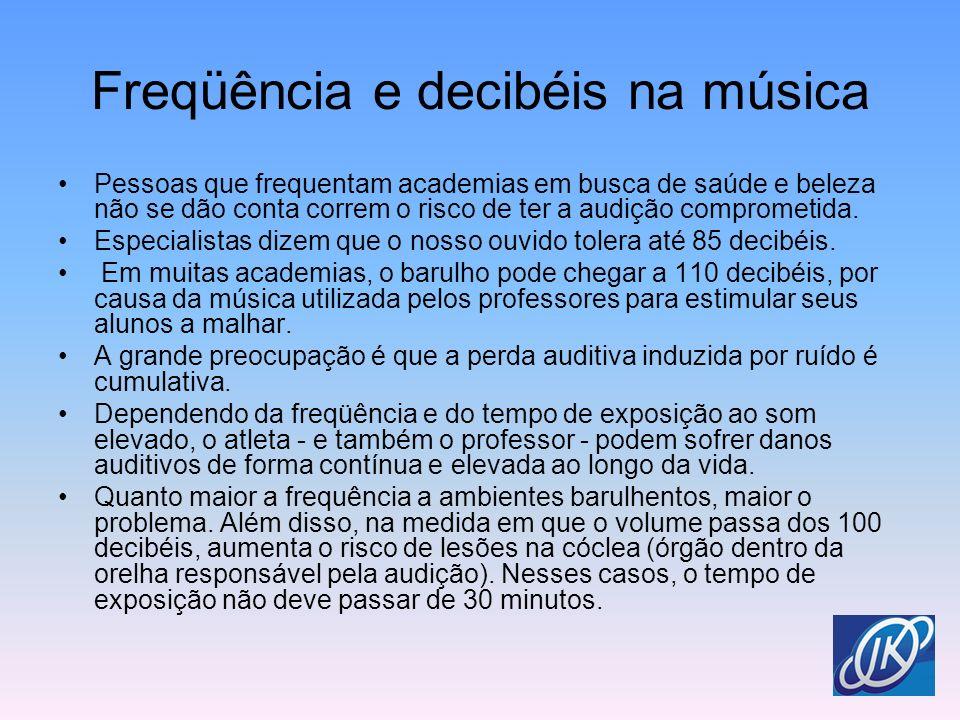 Freqüência e decibéis na música Pessoas que frequentam academias em busca de saúde e beleza não se dão conta correm o risco de ter a audição compromet