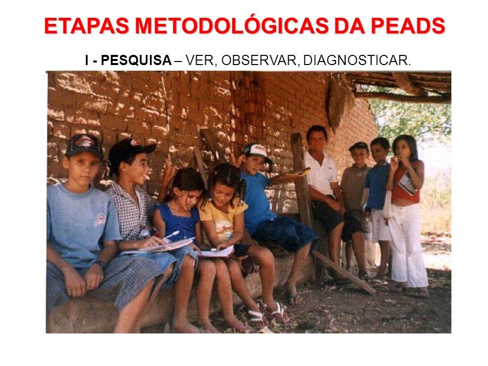 ETAPAS METODOLÓGICAS DA PEADS I - PESQUISA – VER, OBSERVAR, DIAGNOSTICAR.