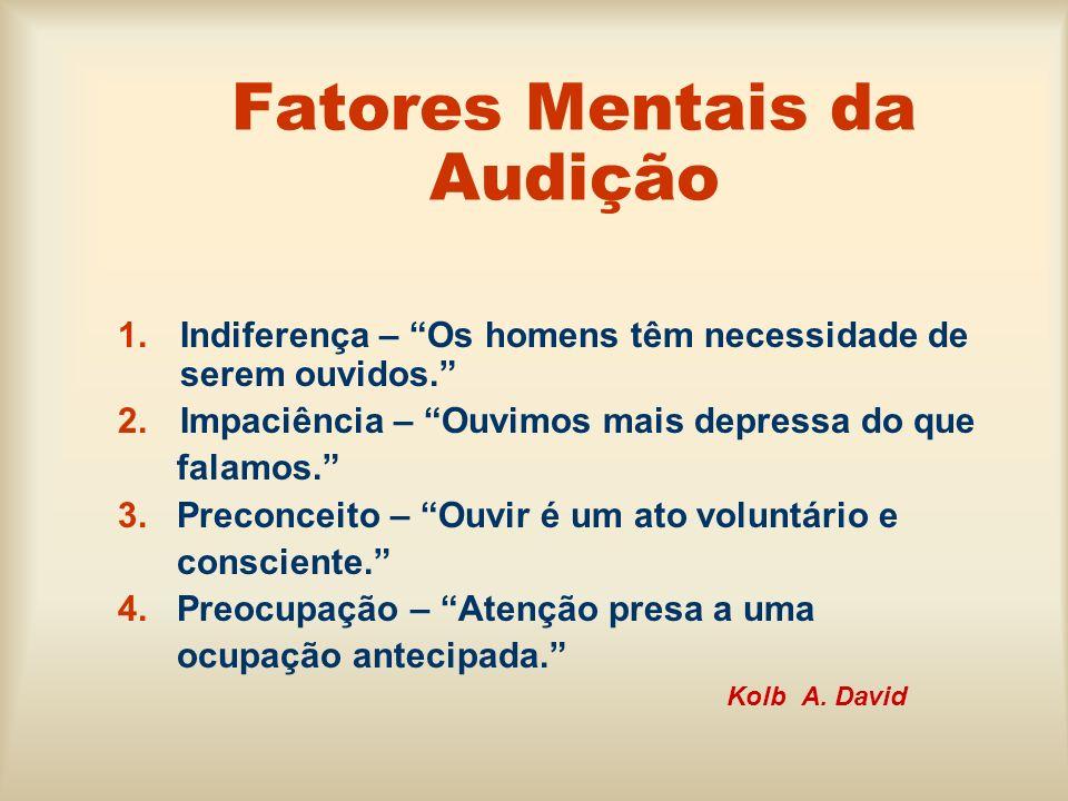 Fatores Mentais da Audição 1.Indiferença – Os homens têm necessidade de serem ouvidos. 2.Impaciência – Ouvimos mais depressa do que falamos. 3. Precon