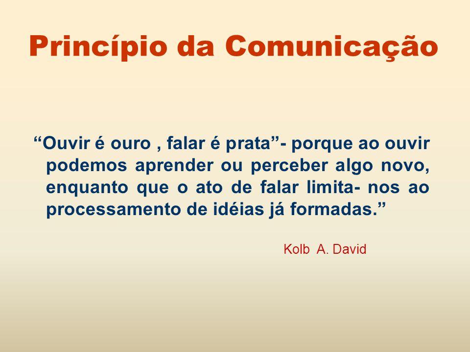 Princípio da Comunicação Ouvir é ouro, falar é prata- porque ao ouvir podemos aprender ou perceber algo novo, enquanto que o ato de falar limita- nos