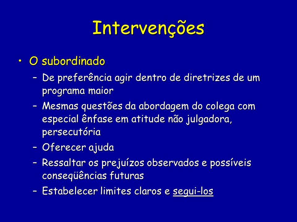 Intervenções O subordinadoO subordinado –De preferência agir dentro de diretrizes de um programa maior –Mesmas questões da abordagem do colega com esp