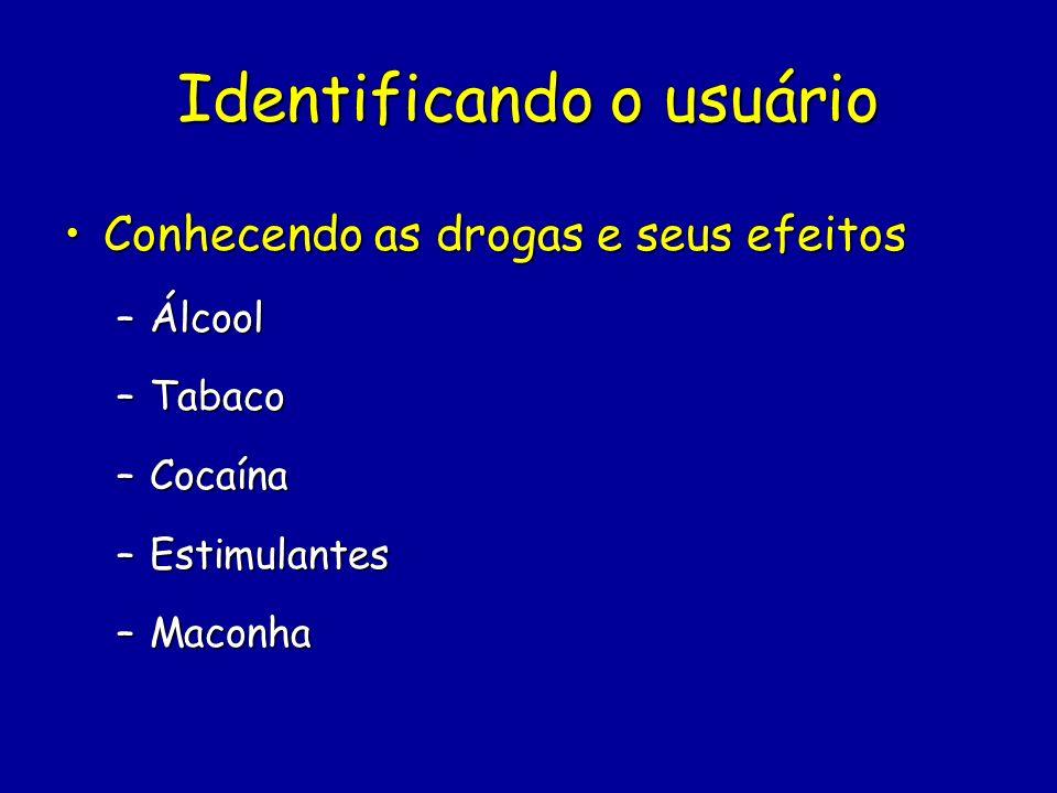 Identificando o usuário Conhecendo as drogas e seus efeitosConhecendo as drogas e seus efeitos –Álcool –Tabaco –Cocaína –Estimulantes –Maconha