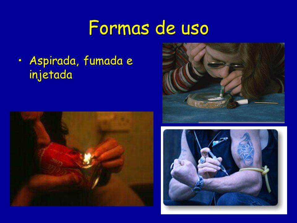 Formas de uso Aspirada, fumada e injetadaAspirada, fumada e injetada