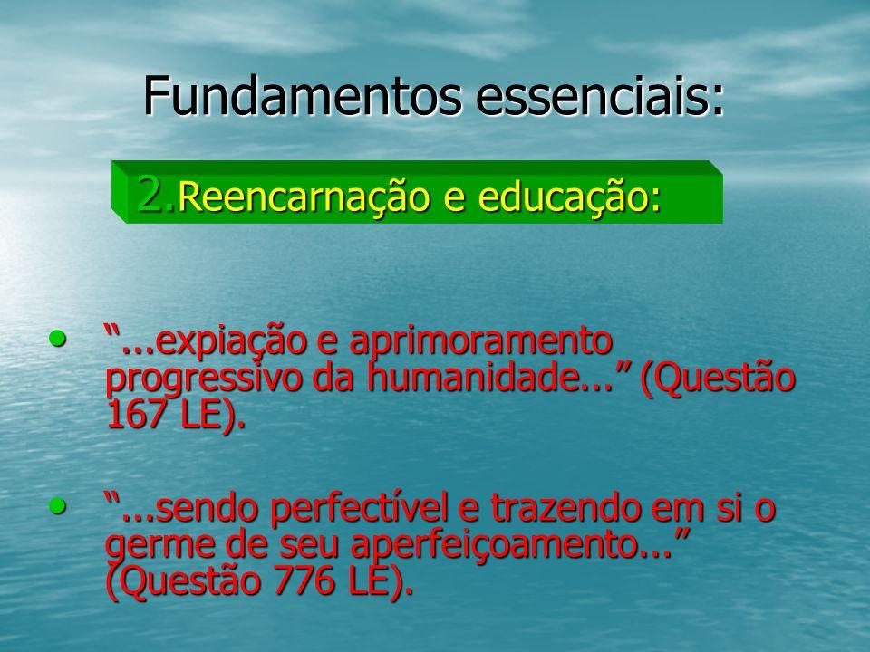 Fundamentos essenciais:...expiação e aprimoramento progressivo da humanidade... (Questão 167 LE)....expiação e aprimoramento progressivo da humanidade