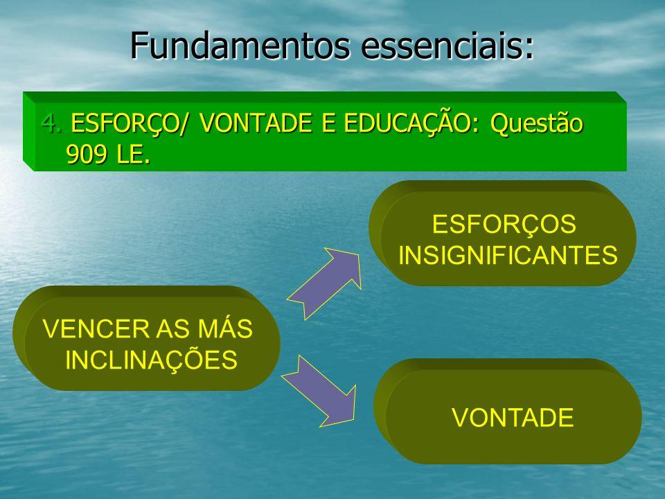 Fundamentos essenciais: 4. ESFORÇO/ VONTADE E EDUCAÇÃO: Questão 909 LE. VENCER AS MÁS INCLINAÇÕES ESFORÇOS INSIGNIFICANTES VONTADE