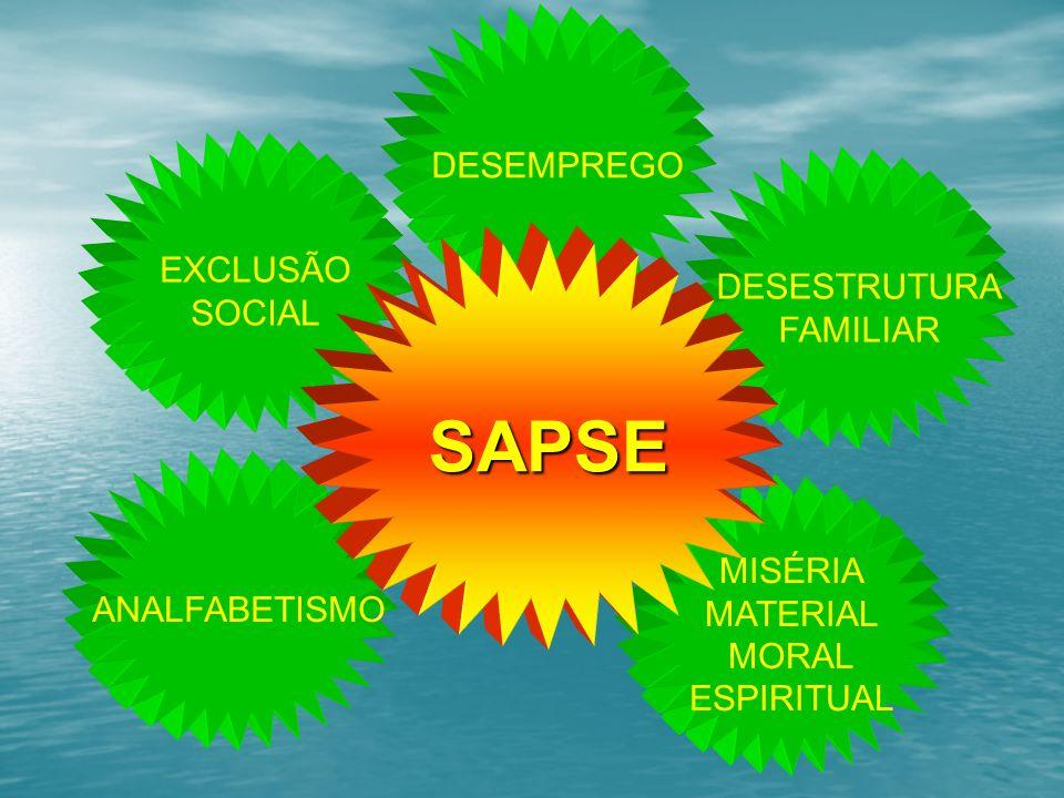 EXCLUSÃO SOCIAL DESEMPREGO DESESTRUTURA FAMILIAR MISÉRIA MATERIAL MORAL ESPIRITUAL ANALFABETISMO SAPSE