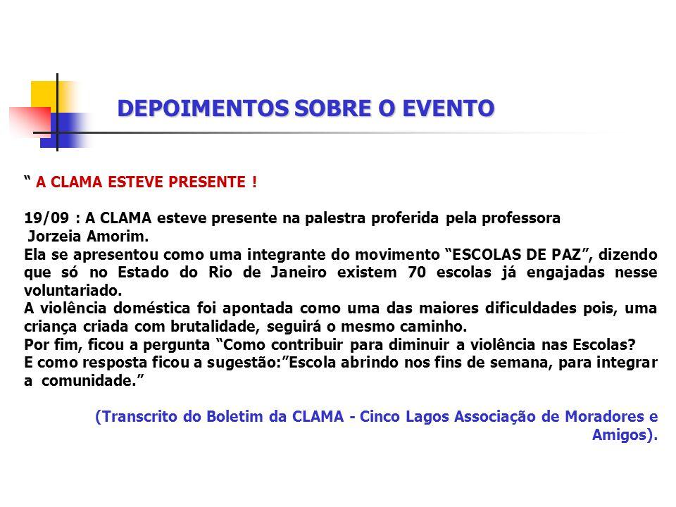 DEPOIMENTOS SOBRE O EVENTO Parabenizo a APAAEP-MENDES pelo excelente encontro realizado com a professora Jorzeia Amorim – Coordenadora do Programa Esc