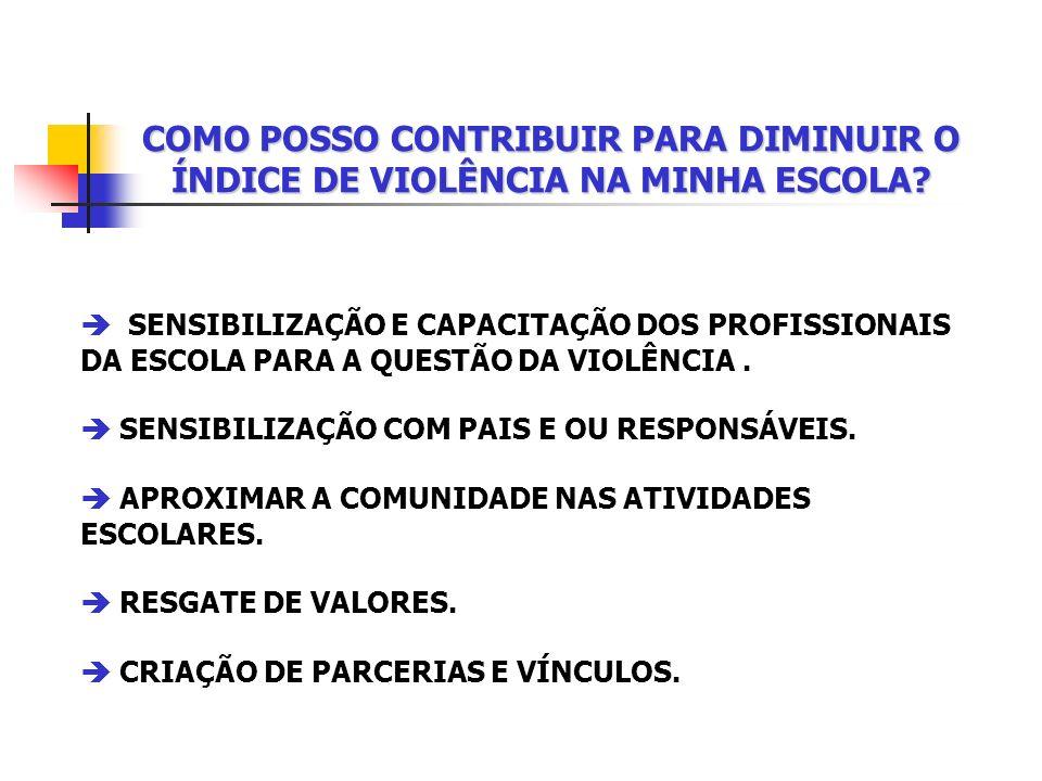 SENSIBILIZAÇÃO E CAPACITAÇÃO DOS PROFISSIONAIS DA ESCOLA PARA A QUESTÃO DA VIOLÊNCIA.