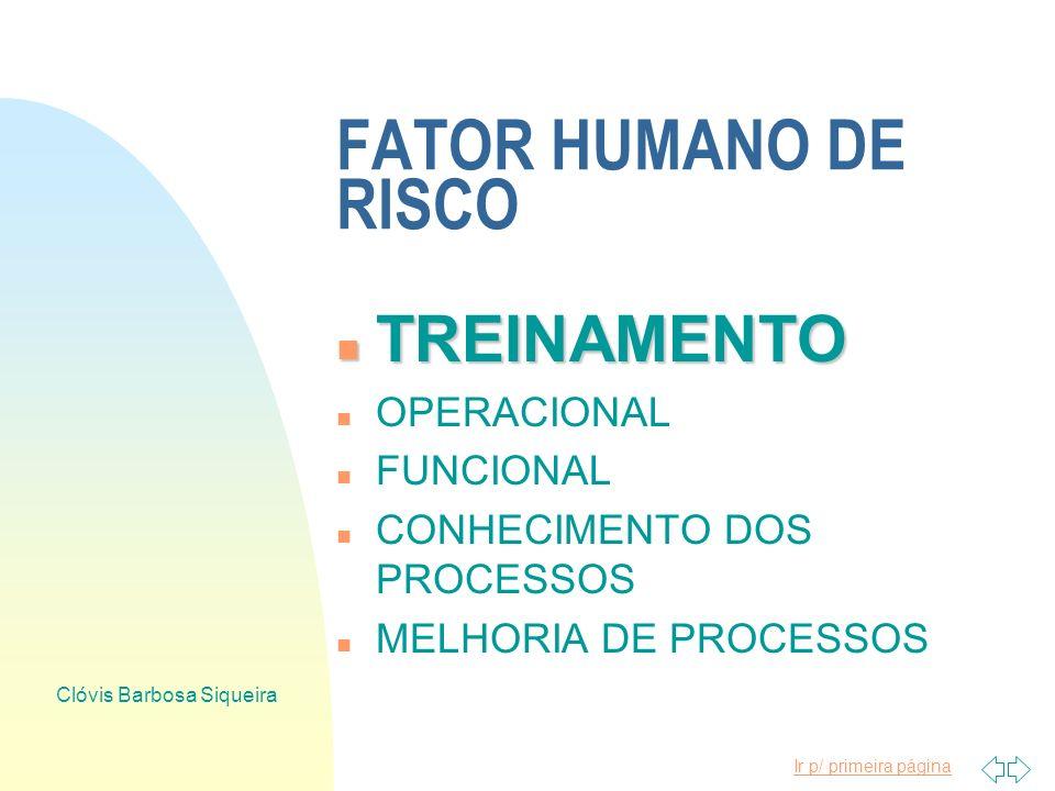 Ir p/ primeira página Clóvis Barbosa Siqueira FATOR HUMANO DE RISCO n EDUCAÇÃO n ALFABETIZAÇÃO n CURSOS 1o. GRAU n CURSOS 2o. GRAU n RELAÇÕES HUMANAS