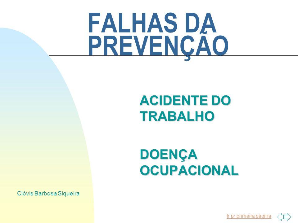 Ir p/ primeira página Clóvis Barbosa Siqueira PREVENÇÃO COMO? AÇÃO SOBRE AS CAUSAS DOS ACIDENTES E DAS DOENÇAS OCUPACIONAIS