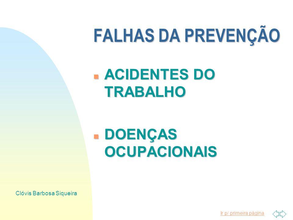 Ir p/ primeira página Clóvis Barbosa Siqueira FALHAS DA PREVENÇÃO ACIDENTE DO TRABALHO DOENÇA OCUPACIONAL