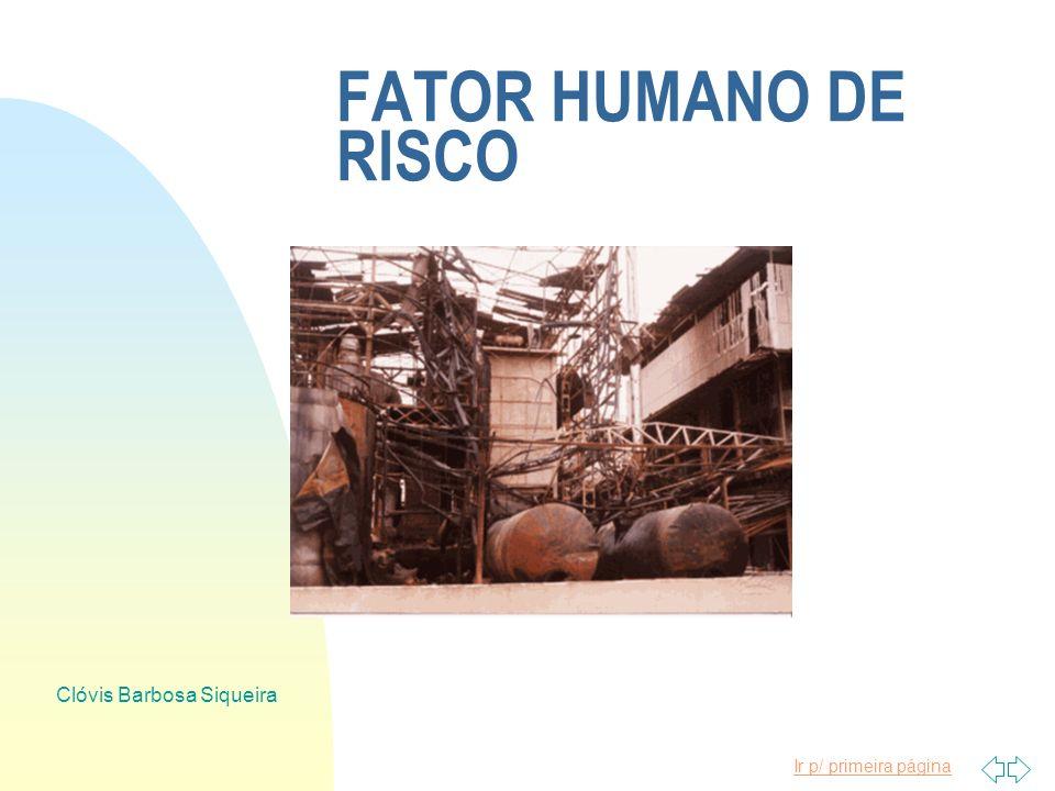 Ir p/ primeira página Clóvis Barbosa Siqueira FATOR HUMANO DE RISCO n PROBLEMAS FAMILIARES n FATORES MOMENTÃNEOS n PERSONALIDADE n DESCONHECIMEN TO DO