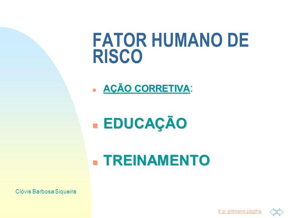 Ir p/ primeira página Clóvis Barbosa Siqueira FATOR HUMANO DE RISCO n CAUSAS n CAUSAS DOS ACIDENTES LIGADAS AO HOMEM n AÇÃO n AÇÃO CORRETIVA VINCULADA
