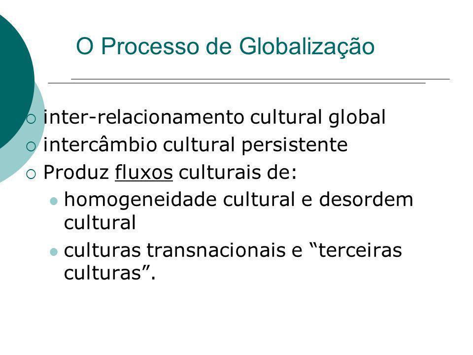 O Processo de Globalização inter-relacionamento cultural global intercâmbio cultural persistente Produz fluxos culturais de: homogeneidade cultural e