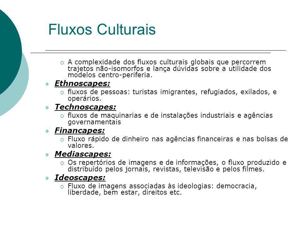 Fluxos Culturais A complexidade dos fluxos culturais globais que percorrem trajetos não-isomorfos e lança dúvidas sobre a utilidade dos modelos centro