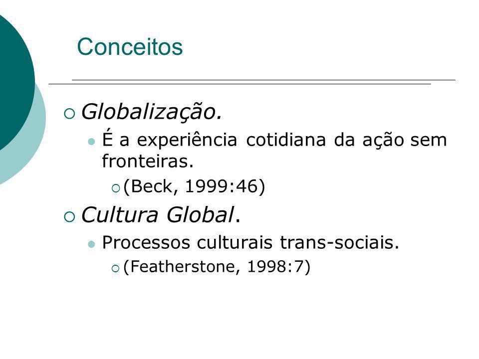 Conceitos Globalização. É a experiência cotidiana da ação sem fronteiras. (Beck, 1999:46) Cultura Global. Processos culturais trans-sociais. (Feathers
