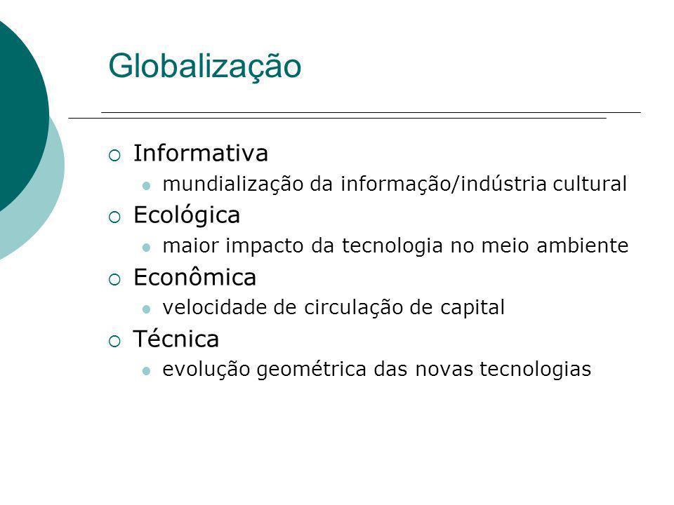Globalização Informativa mundialização da informação/indústria cultural Ecológica maior impacto da tecnologia no meio ambiente Econômica velocidade de