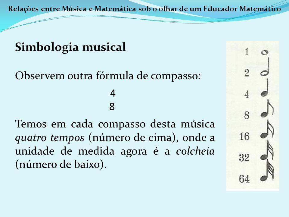 Relações entre Música e Matemática sob o olhar de um Educador Matemático Simbologia musical Observem outra fórmula de compasso: 4 8 Temos em cada comp