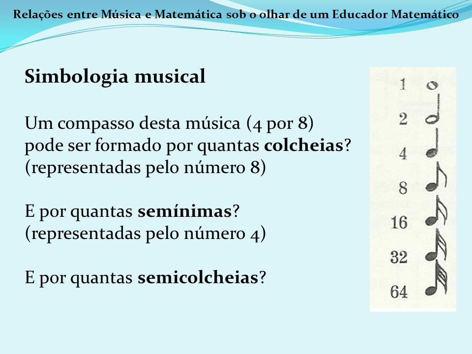 Relações entre Música e Matemática sob o olhar de um Educador Matemático Simbologia musical Um compasso desta música (4 por 8) pode ser formado por qu