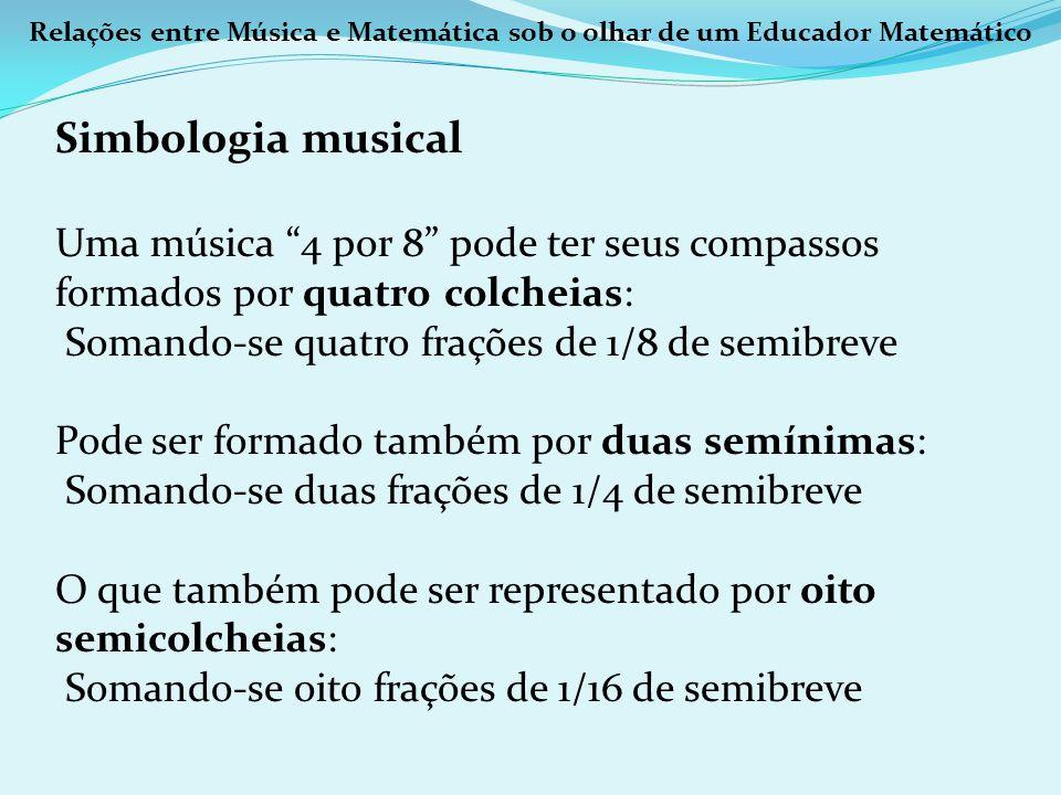 Relações entre Música e Matemática sob o olhar de um Educador Matemático Simbologia musical Uma música 4 por 8 pode ter seus compassos formados por qu