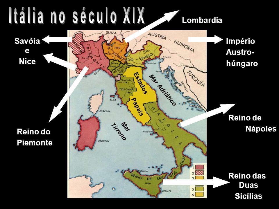 Reino do Piemonte Estados Papais Mar Tirreno Mar Adriático Savóia e Nice Lombardia Reino de Nápoles Reino das Duas Sicílias Império Austro- húngaro