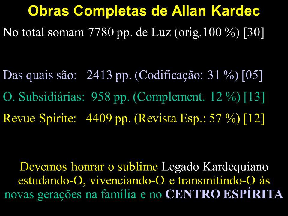 Obras Completas de Allan Kardec No total somam 7780 pp. de Luz (orig.100 %) [30] Das quais são: 2413 pp. (Codificação: 31 %) [05] O. Subsidiárias: 958