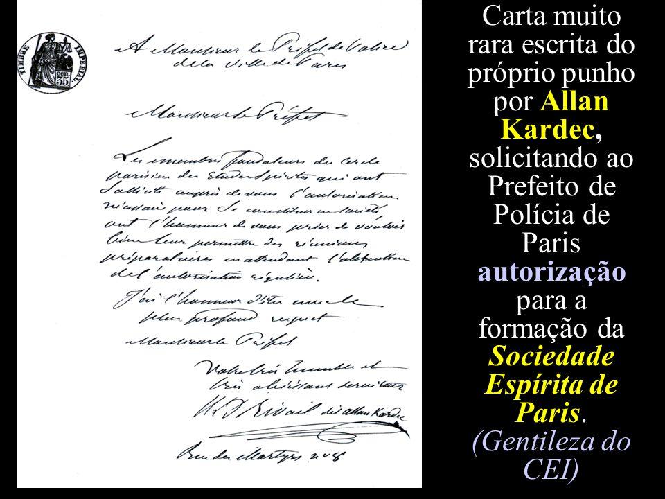 Carta muito rara escrita do próprio punho por Allan Kardec, solicitando ao Prefeito de Polícia de Paris autorização para a formação da Sociedade Espír