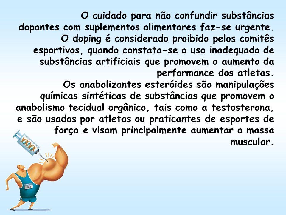 O cuidado para não confundir substâncias dopantes com suplementos alimentares faz-se urgente. O doping é considerado proibido pelos comitês esportivos