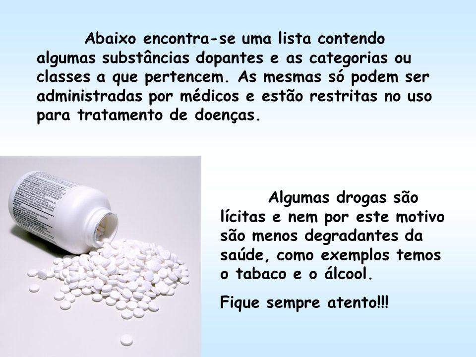 Algumas drogas são lícitas e nem por este motivo são menos degradantes da saúde, como exemplos temos o tabaco e o álcool. Fique sempre atento!!! Abaix