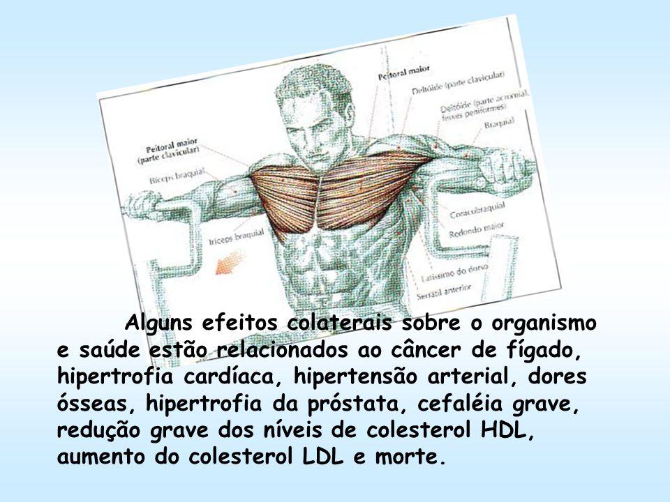 Alguns efeitos colaterais sobre o organismo e saúde estão relacionados ao câncer de fígado, hipertrofia cardíaca, hipertensão arterial, dores ósseas, hipertrofia da próstata, cefaléia grave, redução grave dos níveis de colesterol HDL, aumento do colesterol LDL e morte.