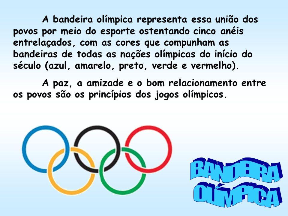 A bandeira olímpica representa essa união dos povos por meio do esporte ostentando cinco anéis entrelaçados, com as cores que compunham as bandeiras d