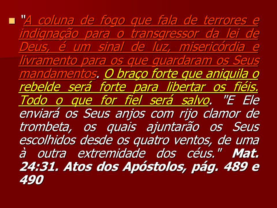 A coluna de fogo que fala de terrores e indignação para o transgressor da lei de Deus, é um sinal de luz, misericórdia e livramento para os que guarda