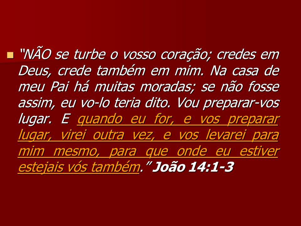 NÃO se turbe o vosso coração; credes em Deus, crede também em mim. Na casa de meu Pai há muitas moradas; se não fosse assim, eu vo-lo teria dito. Vou