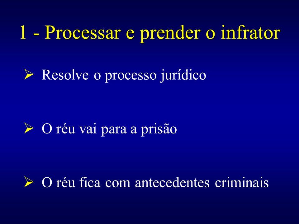 Resolve o processo jurídico O réu vai para a prisão O réu fica com antecedentes criminais 1 - Processar e prender o infrator