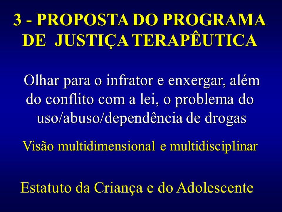 3 - PROPOSTA DO PROGRAMA DE JUSTIÇA TERAPÊUTICA Olhar para o infrator e enxergar, além do conflito com a lei, o problema do uso/abuso/dependência de d