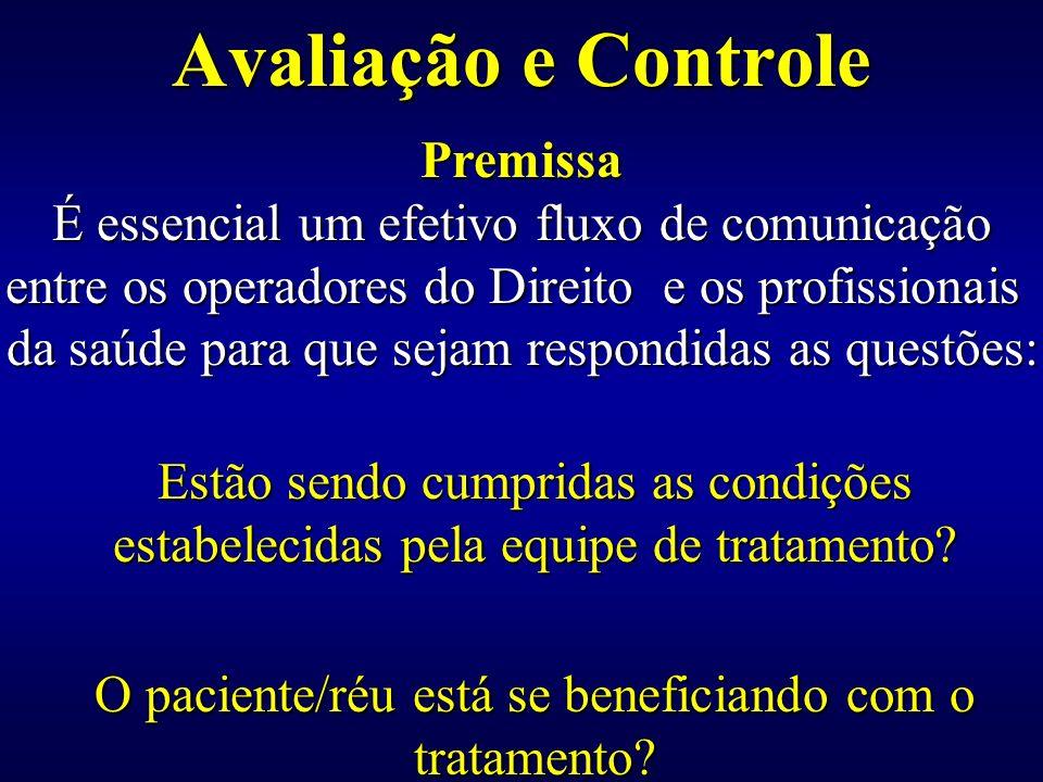 Avaliação e Controle Estão sendo cumpridas as condições estabelecidas pela equipe de tratamento? O paciente/réu está se beneficiando com o tratamento?