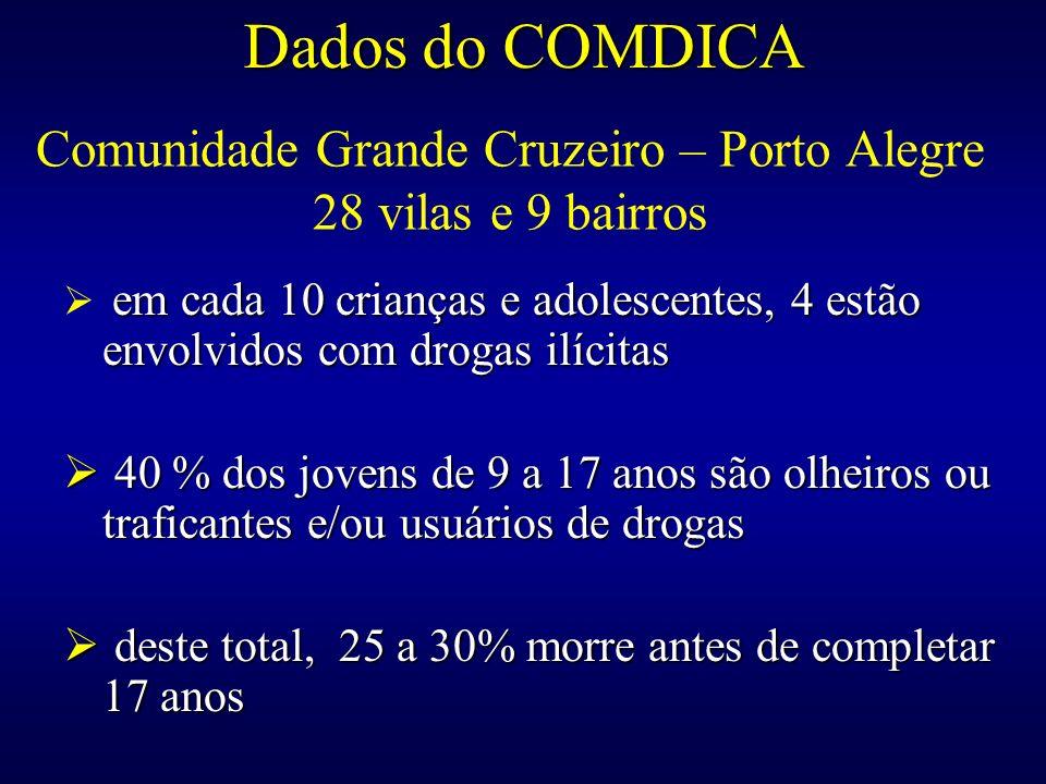 Comunidade Grande Cruzeiro – Porto Alegre 28 vilas e 9 bairros em cada 10 crianças e adolescentes, 4 estão envolvidos com drogas ilícitas 40 % dos jov