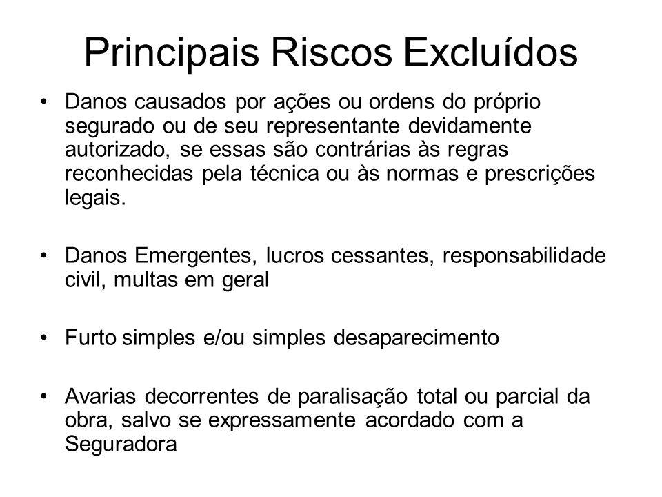 Principais Riscos Excluídos Danos causados por ações ou ordens do próprio segurado ou de seu representante devidamente autorizado, se essas são contrá
