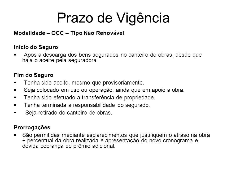 Prazo de Vigência Modalidade – OCC – Tipo Não Renovável Início do Seguro Após a descarga dos bens segurados no canteiro de obras, desde que haja o ace