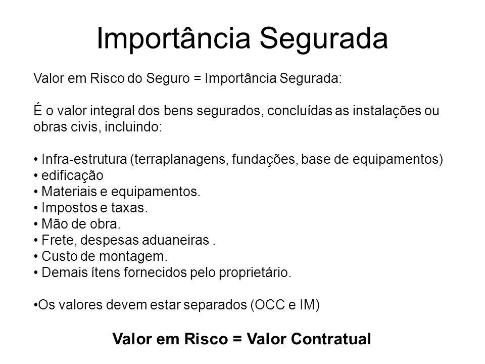 Importância Segurada Valor em Risco do Seguro = Importância Segurada: É o valor integral dos bens segurados, concluídas as instalações ou obras civis,