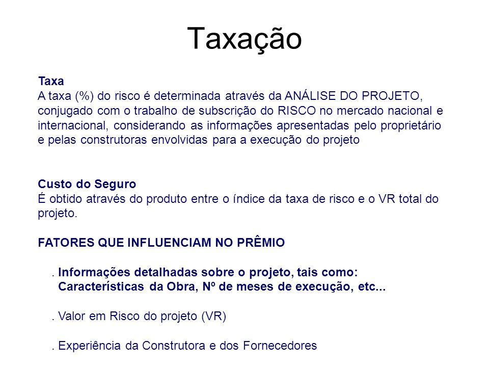 Taxação Taxa A taxa (%) do risco é determinada através da ANÁLISE DO PROJETO, conjugado com o trabalho de subscrição do RISCO no mercado nacional e in
