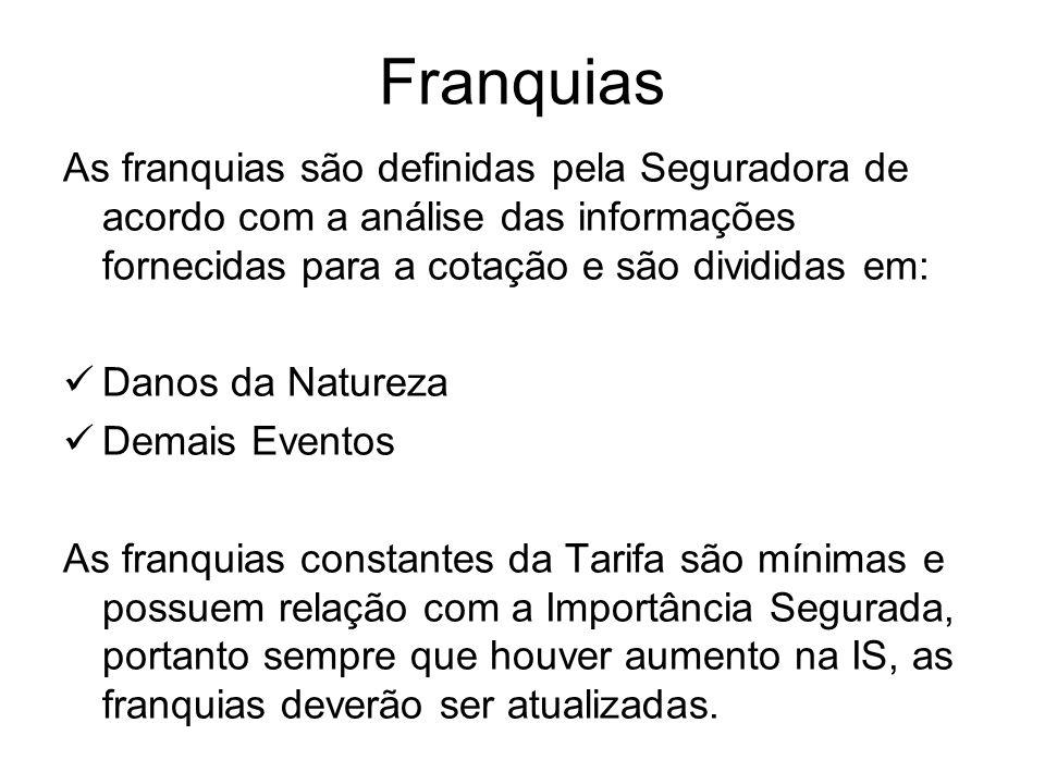 Franquias As franquias são definidas pela Seguradora de acordo com a análise das informações fornecidas para a cotação e são divididas em: Danos da Na