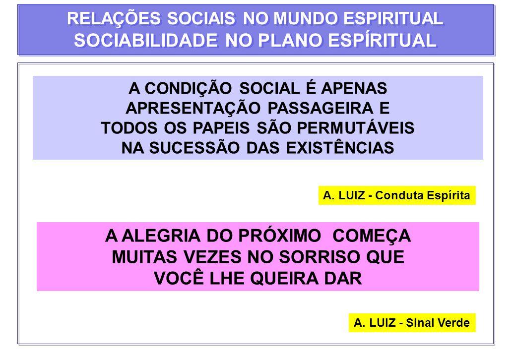 A CONDIÇÃO SOCIAL É APENAS APRESENTAÇÃO PASSAGEIRA E TODOS OS PAPEIS SÃO PERMUTÁVEIS NA SUCESSÃO DAS EXISTÊNCIAS A. LUIZ - Conduta Espírita A ALEGRIA